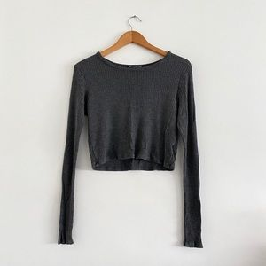 Brandy Melville O/S Gray Ribbed Crop Long Sleeve